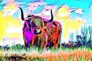 HIGHLAND COW COLOUR CANVAS PICTURE POSTER PRINT UNFRAMED W42