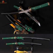 T10 CLAY TEMPERED JAPANESE SAMURAI SWORD SET KATANA & WAKIZASHI BATTLE SHARP