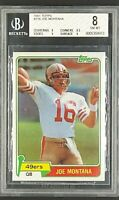 1981 Topps #216 Joe Montana HOF Key RC Rookie BGS 8 with 9 Subgrade (9/8.5/8/8)