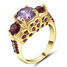 Size 8 Purple Amethyst Crystal Wedding Ring 10KT Yellow Gold Filled Jewelry