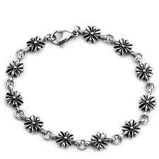 Bracciale in acciaio INOX da donna ragazza hippie Argento Gioventù manico Fiore Flower Fleur