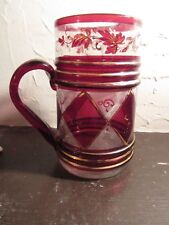 Antique 19Th Century Hand Blown Glass Stein Pub Mug With Gilding And Enamel