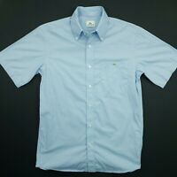 Lacoste Mens Vintage Shirt 38 SMALL Short Sleeve Blue Regular Fit Striped Cotton