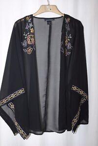 Ashley Stewart Ladies Sheer Black Embroidered Detail Summer Jacket Uk Size 22–24