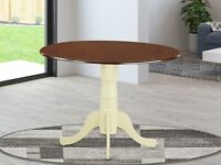 """42"""" Round Dublin drop-leaf pedestal kitchen table in mahogany and buttermilk"""