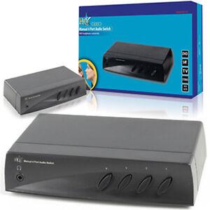 UMSCHALTER, VERTEILER, Cinch Stereo Audio, RCA Selector, Chinch Switch, 4 fach