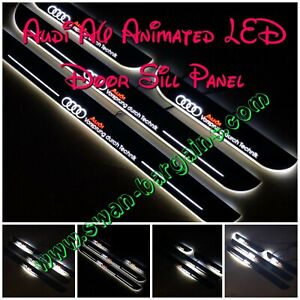 4pcs WHITE Audi A7 RS7 Animated Moving LED Panel Car Door Sill Scuff Plates