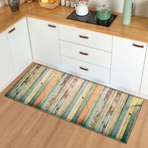 Modern Kitchen Mat Doormat Wood Grain Home Hallway Carpet Bathroom Anti-Slip Rug
