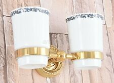 Gold Color Brass Wall Mounted Bathroom Toothbrush Holders Dual Ceramic Cups