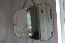 Vintage Art Deco Octagonal Wall Mirror with Lovely Flower Design