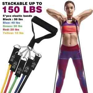 Widerstandsbänder 11er Set mit 2 Griffen 5 Fitnessbänder aus Latex 150LBS