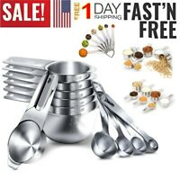 Sturdy Stainless Steel Measuring 7 Cups And 7 Spoons Kitchen Utensils Set Of 14