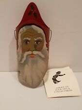 Vintage American folk art Santa Lamp Shade Shadowdancer Edna Young 1988 signed
