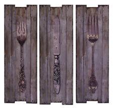 Wanddeko Holzdruck Holzbild Holz Vintage 3er Set Besteck Küche Deko
