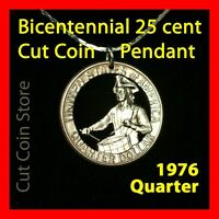 USA Quarter 25¢ Necklace 1976 Cut Coin Bicentennial Drummer
