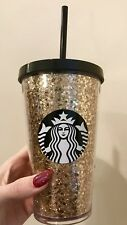 Starbucks 2018 Glitter GOLD Grande Cup Tumbler 16 oz BRAND NEW Early Release