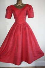 VINTAGE MONSOON TWILIGHT 10 SILK DRESS 50'S BALL GOWN PARTY PROM RED 8 VICTORIAN
