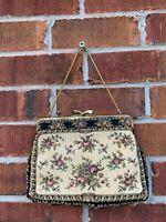 1950s Vintage Needlepoint Tapestry Purse Floral Gold Frame Handbag Made Germany