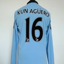 Manchester City Home Shirt Adult 42 Large KUN AGUERO #16 2012/2013 Long Sleeves