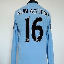 Manchester City Home Shirt per adulti 42 grandi KUN AGUERO #16 2012/2013 Maniche Lunghe
