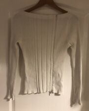 Guess Jeans Ladies White Zipped Top Large Long Sleeved
