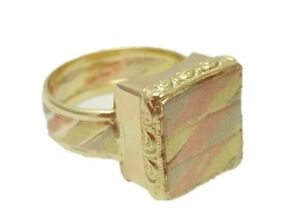 14K Gold Tricolor (Yellow, Red, White) Flat Square Seal Men Ring Handmade Size13