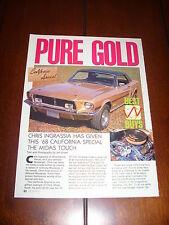 1968 MUSTANG GT/CS CALIFORNIA SPECIAL ***ORIGINAL 1990 ARTICLE***