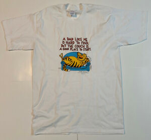 Vtg Shoebox Greetings A Dad Like Me .. Couch XL White T Shirt Single Stitch Cat