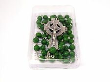 Green Glass St Patrick Rosary with Shamrock Beads