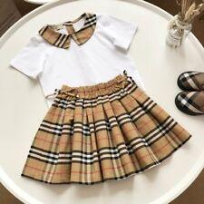 1 set Fashion Kids Girl White Brown Strip Summer Shirt Top Tee & Bow Tie Dress