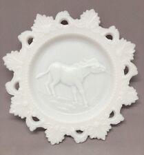 """VINTAGE 7.375"""" Milk Glass STUBBORN MULE PLATE Open LACE Edge HORSE RARE"""