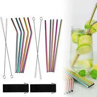 10 Edelstahl Strohhalm Trinkhalme Rainbow Mit Strohhalme Reinigungsbürste Tasche