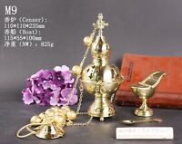 Brass Censer Incense Burner with Bell and Boat for Church M9