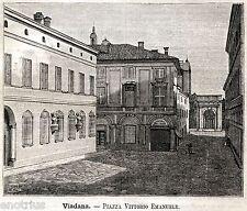 Viadana: Piazza Matteotti e Municipio.Mantova. Stampa Antica + Passepartout.1891