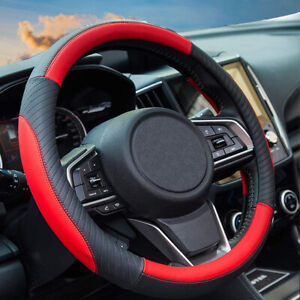 Universal Sport Steering Sheel Cover Leather PU - Soft Red Non-slip 37-38cm
