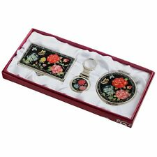 Business card holder ID case Makeup compact mirror keychain ring gift set #06