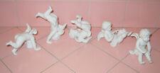 Vintage 5 Fitz Floyd Tumbling Cherubs White Porcelain Japan Angels Head Stand