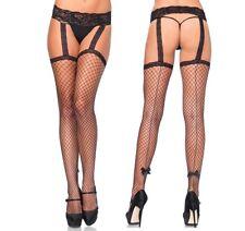 Backseam Industrial Net Garterbelt Stockings W/Bow, Fishnet Suspender Tights