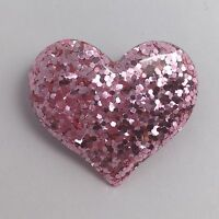 Pink Large Heart Glitter Charms Resin Brooch Pin Badge D204 Kitsch Fun