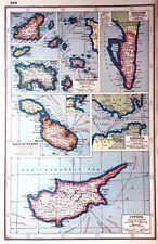 Vintage Antique Original 1920 Print Map Of Cyprus Channel Islands Gibraltar Etc