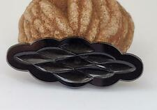 Vintage SCALLOPED Shiny Black Glass PRESSED CABOCHONS CAB DIY Jewelry Making 1