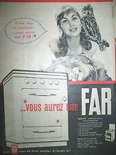 PUBLICITE DE PRESSE FAR CUISINIERE TOUS GAZ GITANE BOULE DE CRISTAL AD 1958