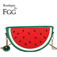 Women Casual Watermelon Handbags Chain Crossbody Bags PU Lemon Shoulder Purse
