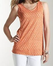 J Jill NEW 100% Linen Tank Knit Top Orange Print Size M    NWT $49