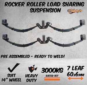 7 Leaf 3000Kg Rocker Roller Tandem Trailer Spring Set Caravan Horse Float 60x6mm