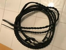 Mini harness driving reins, black braided leather, Amish made