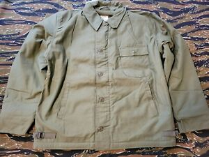 NOS Unissued Navy Deck Jacket Permeable Cold Weather OD Green Size Large L 42-44