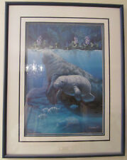Mint 1991 Sherry Vintson Signed *Manatee Heaven* Framed Print Numbered 458/1950