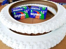 "2-16x2.125 DURO BMX WHITE TIRES & 2-16"" TUBES FOR KIDS BICYCLES *FREE RIM LINERS"