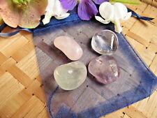 """42-Pochette""""Pleine forme""""Cristal de roche-Améthyste-Fluorite-Quartz rose"""
